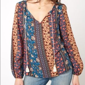 NWT South Moon Under Boho Chic Peasant Top